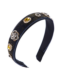 Fashion Dark Blue Velvet Diamond Alloy Pearl Flower Headband