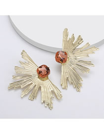 Fashion Rose Gold Alloy Leaf Irregular Earrings With Glass Diamonds