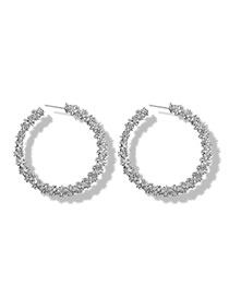 Fashion Silver Irregular Concave Round Open Earrings