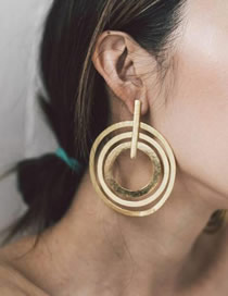 Fashion Golden Alloy Geometric Circle Hollow Multilayer Earrings