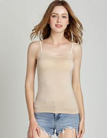Camisa De Fondo Modal Con Camisola Acolchada En El Pecho Sin Bordes De Acero