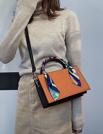 Fashion Orange Scarf Wrapped Bronzing Monogram Shoulder Crossbody Bag