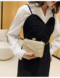 Fashion Golden Shiny Chain Knotted Clip Buckle Shoulder Crossbody Bag
