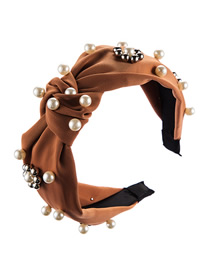 Fashion Brown Pearl Flower Bead Knotted Wide Edge Hoop