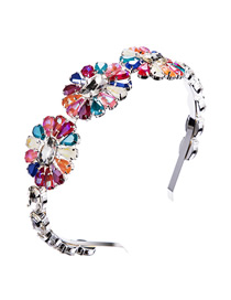 Fashion Color Alloy Inlaid Glass Diamond Flower Headband
