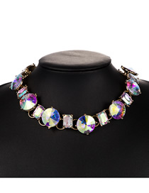 Fashion Color Alloy Inlaid Glass Diamond Necklace