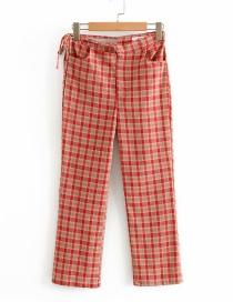 Pantalones De Pierna Recta Estampados A Cuadros