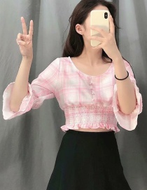 Fashion Pink Plaid Print Flared Sleeve Pleated Single-breasted Shirt