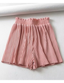 Fashion Pink Pleated Elastic Waist Straight Shorts