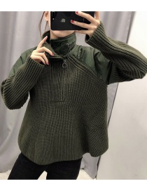 Fashion Green Paneled Zipped Lapel Sweater