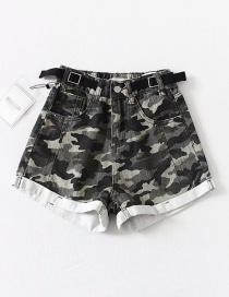 Fashion Camouflage Washed Belt Stitching Denim Shorts