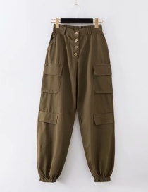 Fashion Army Green Washed High Waist Breasted Overalls