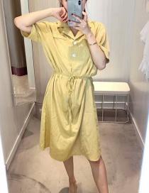 Fashion Yellow Suit Collar Cotton Linen Dress