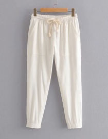 Fashion White Cotton And Lined Straight Pants
