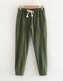 Fashion Green Cotton And Lined Straight Pants