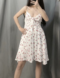 Fashion White Floral Camisole V-neck Dress