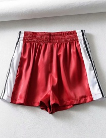 Fashion Red Striped Panelled Shorts