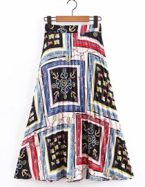 Fashion Color Flower Print Pleated Skirt