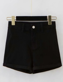 Fashion Black Washed Curled A-line Shorts
