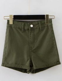 Fashion Army Green Washed Curled A-line Shorts