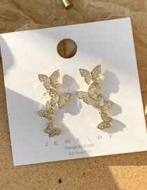 Fashion Golden 925 Silver Pin Butterfly Stud Earrings