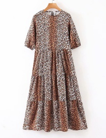 Fashion Leopard Print Printed Round Neck Pleated Dress