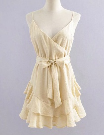 Fashion Cream Color V-neck Layered Frill Dress With Suspenders