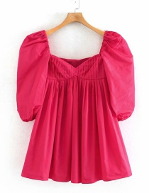 Fashion Rose Red Pleated Square Collar Pleated Dress