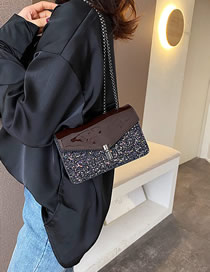 Fashion Brown Sequined Patent-leather Chain Shoulder Bag