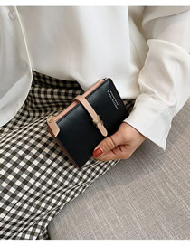 Fashion Black Wallet Trim Short Wallet