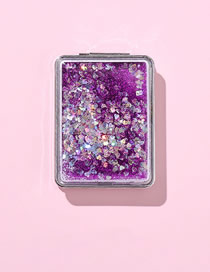 Fashion Square-purple Quicksand Clamshell Double-sided Foldable Mini Makeup Mirror