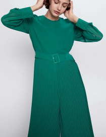 Fashion Green Pleated Belted Round Neck Jumpsuit