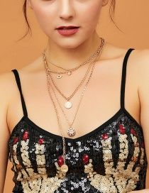 Fashion Golden Multilayer Disc Portrait Geometric Necklace With Diamond Eyes