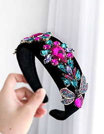 Fashion Color Alloy Diamond Drop Insect Flannel Headband