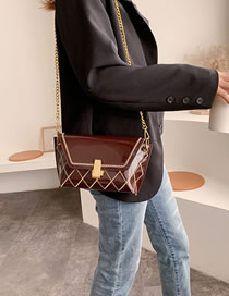 Fashion Brown Patent Leather Chain And Shoulder Bag