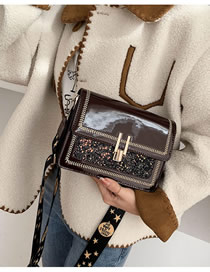 Fashion Burgundy 2 Patent Leather Sequin Chain And Shoulder Bag