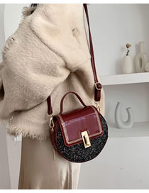 Fashion Red Wine Patent Leather Sequined Embroidered Shoulder Bag