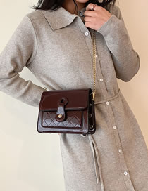 Fashion Coffee Color Patent Leather Diamond Studded Chain Shoulder Bag