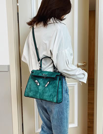 Fashion Green Crocodile Lock Shoulder Crossbody Bag