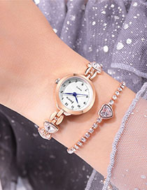 Fashion Rose Gold With White Surface Bracelet Watch With Diamond Dial And Angular Mirrored Steel Strap