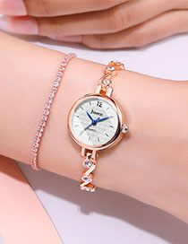 Fashion Rose Gold With White Surface Bracelet Watch With Diamond-cut Small Dial: Angular Cut Mirror Steel Strap