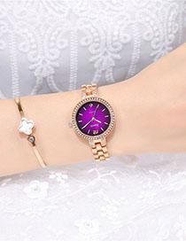 Fashion Rose Gold With Purple Face Quartz Bracelet With Diamonds And Steel Sunburst