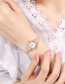 Fashion Rose Gold With White Surface Roman Scale Alloy Watch With Diamonds