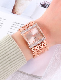 Fashion Rose Gold Quartz Watch With Diamonds And Square Metal Strap