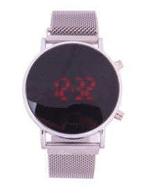 Fashion Silver Watch Led Cold Light Suction Iron Mesh With Electronic Watch