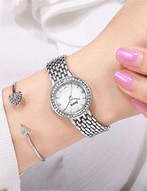 Fashion Silver With White Surface Gradient Quartz Bracelet With Diamonds