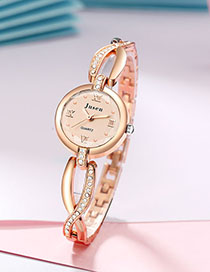 Fashion Rose Gold With Rose Gold Face Quartz Watch With Brilliant Fine Bracelet And Diamonds