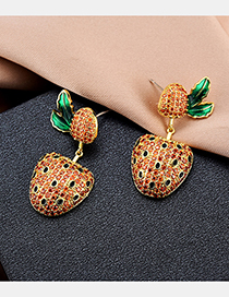 Fashion Orange S925 Sterling Silver Pin Strawberry Earrings