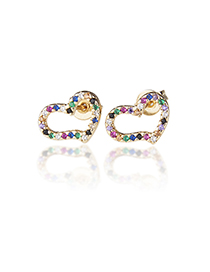 Fashion Gold-plated Color Zirconium Copper Plated White Zirconium Color Zirconium Twisted Heart-shaped Stud Earrings