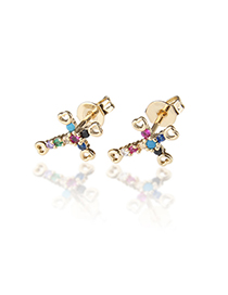 Fashion Gold-plated Color Zirconium Copper Plated White Zirconium Color Zirconium Cross Earrings